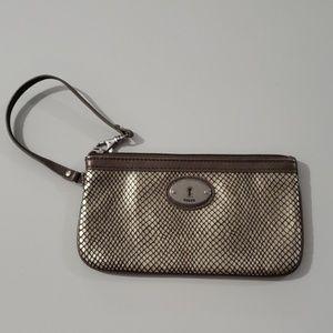 Fossil Bronze Leather Wristlet Wallet